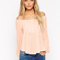 ASOS Smock Top with Off Shoulder in Texture with Bell Sleeve