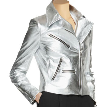 Women's metallic silver leather jacket