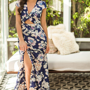 Leia Navy Floral Maxi Dress