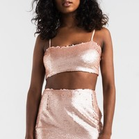 AKIRA Adjustable Strap Crop Sequin Bra Top in Rose Gold