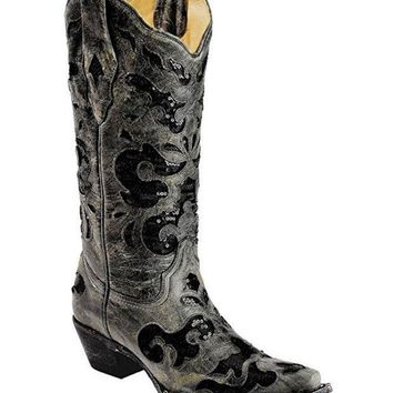 ICIKAB3 Corral Black Crater Sequence Inlay Snip Toe Boots