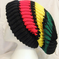 Slouchy Beanie Hat, Rasta, Handmade, Men and Women