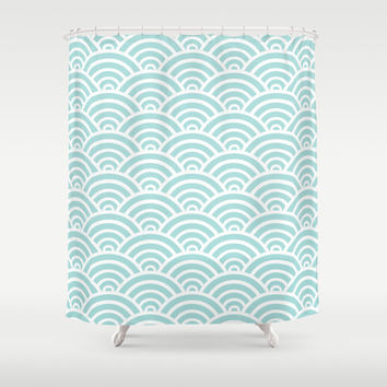 Tiffany Blue Scallop Pattern Shower Curtain by Enduring Moments