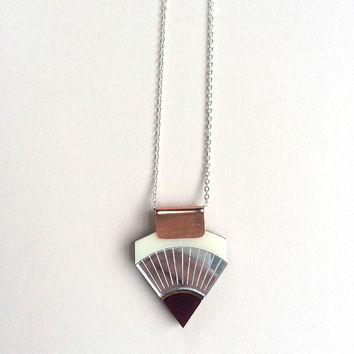 Sun Point Necklace in Cream & Maroon by Wolf & Moon