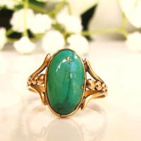 Vintage Oval Cabochon Turquoise Ring 10K Yellow Gold Ring Naturalistic Unique Engagement Ring Something Blue Bridal Jewelry!