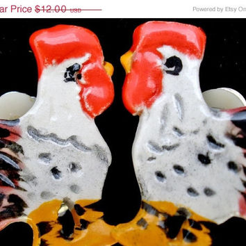 30% Off Rooster Earrings Vintage Porcelain Hand Painted Clip