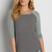 striped baseball tee in mossy green | maurices