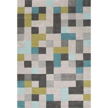 Jaipur Rugs Modern Geometric Pattern Gray/Blue Polyester Area Rug FN24 (Rectangle)