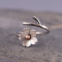 Cherry Blossom Branch Adjustable Ring in Silver by HapaGirls