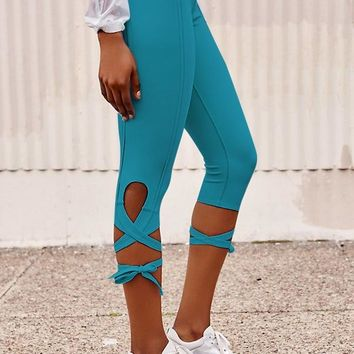JIGERJOGER 2016 Fall New teal Blue TIE UP Women's free move Dancing Legging Yoga Capris Pant  fitness sport tights Activewear