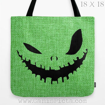 Oogie Boogie Man Monster Nightmare Before Christmas Tote Bag Movie Trick or Treat Halloween Black Green Evil Grin Autumn Fall Face Burlap