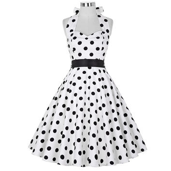 Summer style polka dot 50s dress women sleeveless casual white plus size clothing Short vintage Pinup Swing Dresses 2016 vestido