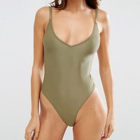 ASOS Zena Ribbed High Shine Hi Leg Bodysuit at asos.com