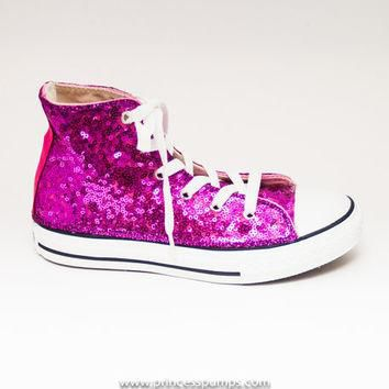 Youth Size Hot Fuchsia Pink Sequin Converse Canvas Hi Tops Sneakers Tennis Shoes