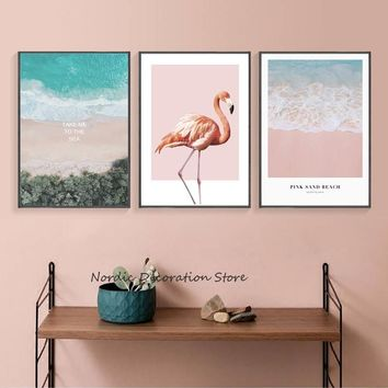 Poster Beach Plant Print Pink Flamingo Wall Art  Seascapes Poster And Prints Canvas Painting Green Plants Wall Pictures Unframed