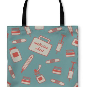Tote Bag, Medical Pattern Hospital Instrument Healthy Pharmacy Drugstore With Medicine