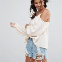 ASOS Cold Shoulder Top with Low Back & Ruffle Edge at asos.com