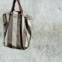 Simple Hand Bag  Tote Canvas with Leather Handles
