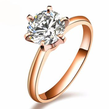 Classic 6 Claws 18K Rose Gold 1 Carat Brilliant Cut Moissanite Gold Wedding Rings For Fashion Women Free Shipping