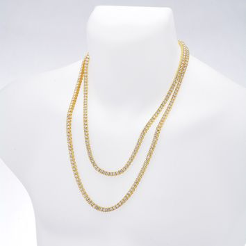 "Jewelry Kay style Men's Gold / Silver Plated Iced Double Set Tennis Chain Necklace 22"" / 26"""