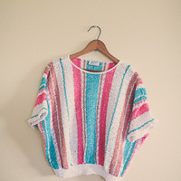 Vintage Aqua Blue Pink 80s Sweater Women's Size Medium Stripped Print Grandma Sweater Cropped  Cozy Slouchy Pastel 80s