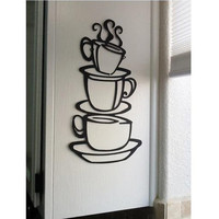 MZY LLC (TM) Coffee Cup Double sided visual Removable Wall Vinyl Sticker Decals Decor Art Bedroom Design Mural