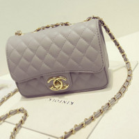 """""""Chanel""""Exquisite Lingge chain package ladies fashion package shoulder diagonal cross package Grey"""