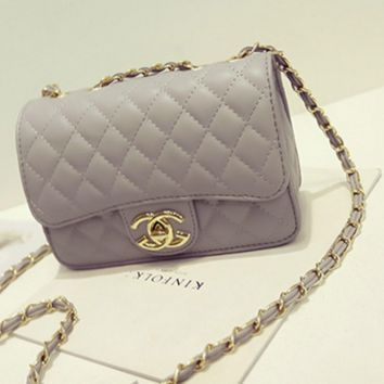 """Chanel""Exquisite Lingge chain package ladies fashion package shoulder diagonal cross package Grey"
