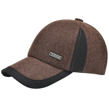 Men Winter Thicken Wool Fleece Lined Snowboarding Baseball Cap Hat with Earflaps
