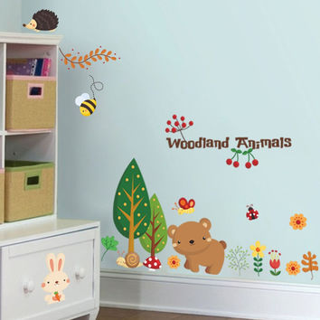 Woodland animals wall stickers for kids room decorations cartoon mural art zoo children home decals posters 1221. 5.0 SM6