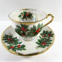 Christmas Holly Tea Cup and Saucer