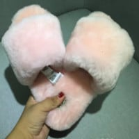 UGG Sheep fur one word drag the new autumn/winter slippers Light pink
