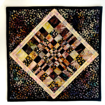 Quilted Wall Hanging -  Fiber Art -  Batik Table Topper - Autumn Home or Office Decor - Modern Patchwork Wall Art - Fall Colors Brown Gold