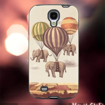 MC42Z,19,Elephant,balloon,fly,classic -Accessories case cellphone- Design for Samsung Galaxy S5 - Black case - Material Soft Rubber