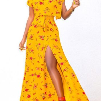 Yellow Flower Print Sashes Side Slit Two Piece High Waisted Elegant Maxi Dress