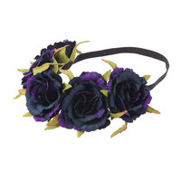 Purple and Navy Blue Roses Flower Crown