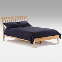 Twin XL Wood Platform Bed Frame with Headboard in Natural Finish