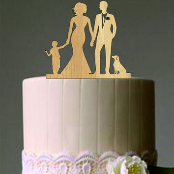 family wedding cake topper with dog and boy, bride and groom silhouette, rustic cake topper, unique wedding cake topper, wedding cake decor