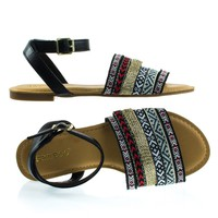 Grayson32S Black By Bamboo, Multi Colored Tribal Flat Sandal w Ankle Strap
