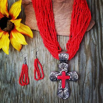 Red Beaded Filigree Cross Necklace