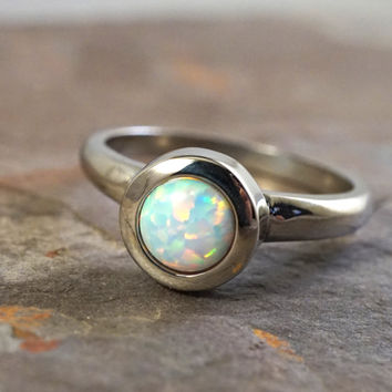 Beautiful White Opal Ring