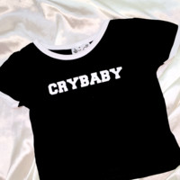 SWEET LORD O'MIGHTY! CRYBABY RINGER TEE IN BLACK