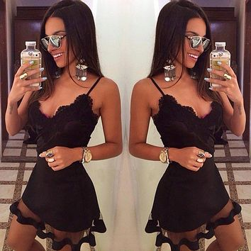 Summer Style White Black Lace Dress V Cami Bodycon Sexy cheap clothes china vestidos de festa mujer Casual office Midi Dresses
