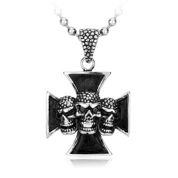 Iron Cross with 3 Skulls Pendant