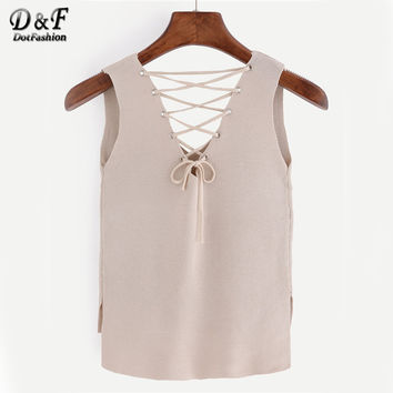 Summer Style Woman Tank Top Solid Apricot Eyelet Lace-Up Knitted High-Low V Neck Sleeveless Sexy Tank