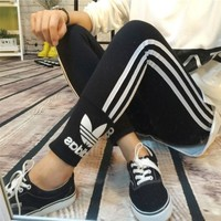 ADIDAS Fashion show thin pure cotton pants Black