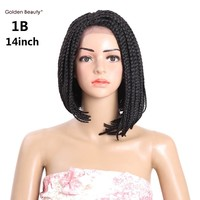 6-14inch Short Braided Box Braids Wig Synthetic Lace Front Wig Ombre Bob Wigs for Black Women Golden Beauty