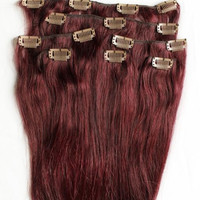 24 inches 7pcs Clip In Human Hair Extensions 99J Red Wine