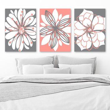 CORAL GRAY Flower Wall Art, Canvas or Prints, Floral Bathroom Decor, Coral Gray Bedroom Wall Decor, Flower Wall Art, Set of 3 Artwork