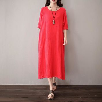 O-neck Short sleeve Linen Women Long Dress Solid Red White Purple Casual Midi Dress Plus size Original Vintage Dresses 5051